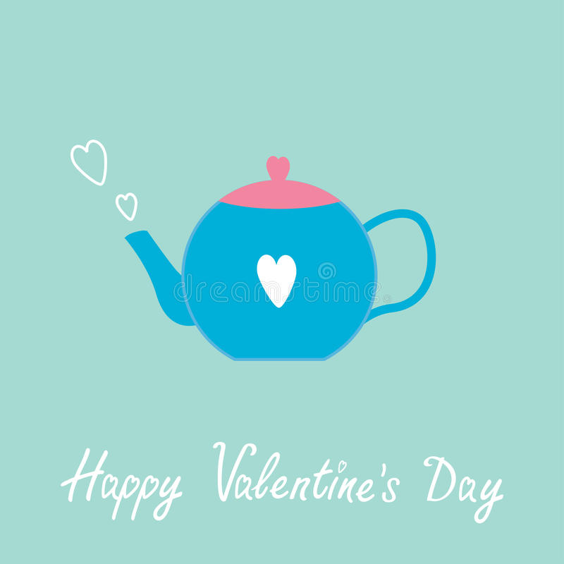 Free Blue And Pink Teapot With Hearts. Happy Valentines Stock Photography - 36477422