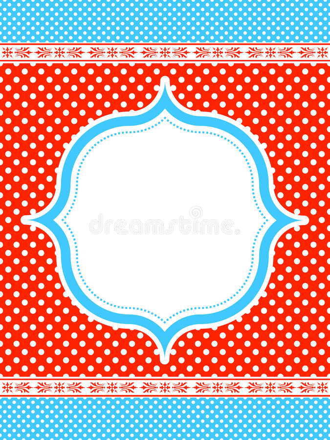 Free Blue And Red Polka Dot Frame Royalty Free Stock Photos - 21786748