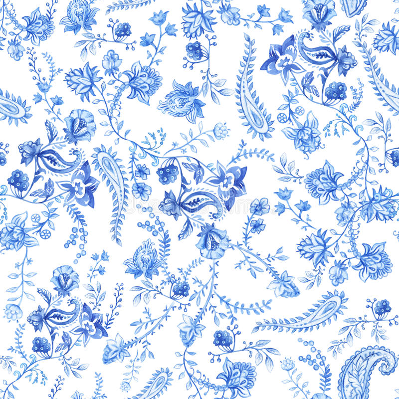 Free Blue And White Floral Wallpaper. Floral Seamless Pattern In Paisley Style. Decorative Botanical Backdrop. Light Blue Stock Image - 93816711