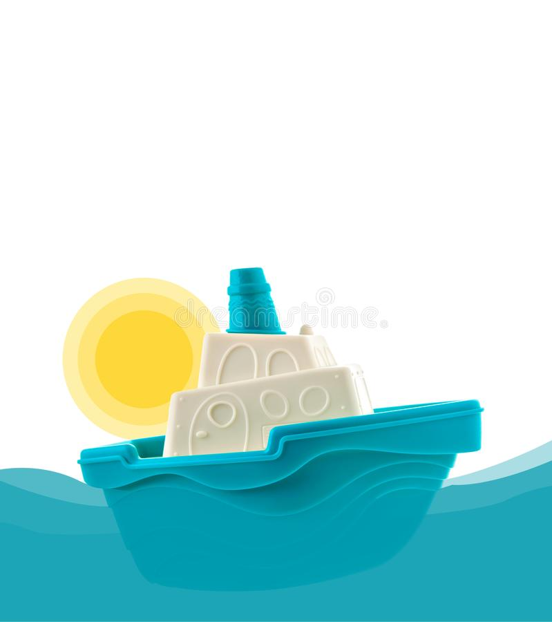 Free Blue And White Toy Boat Floating On The Waves And A Yellow Sun Stock Photography - 106218502