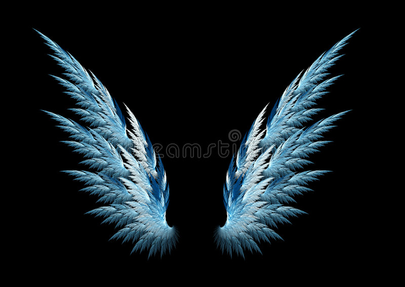 Blue angel wings stock illustration