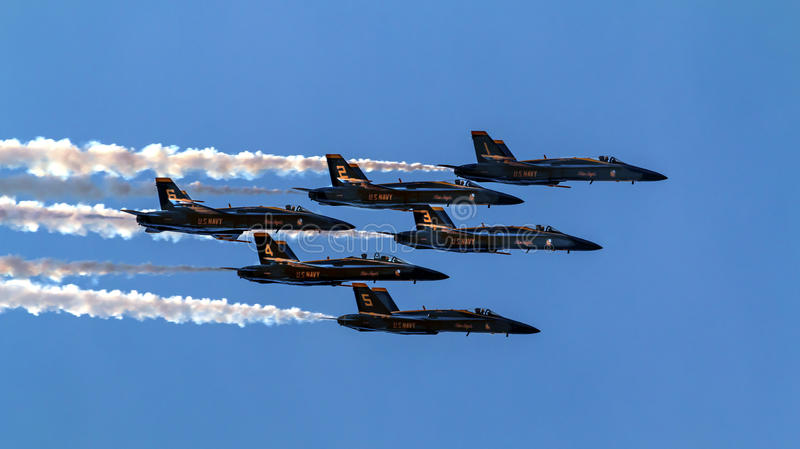 Blue Angels Close Flying Over Seattle Washington Editorial Image - Flying to seattle washington