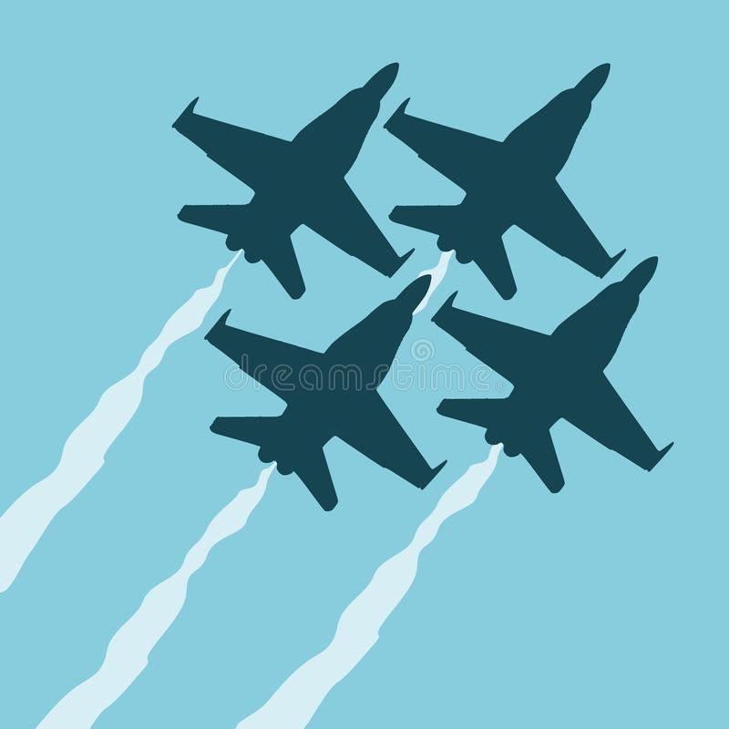 Blue angels flat illustration stock illustration