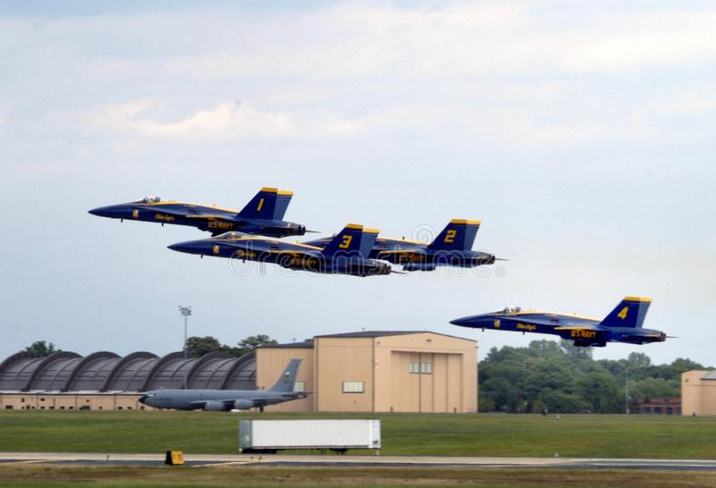The Navy`s Blue Angels in flight. Blue Angels in flight in camp Springs, Maryland royalty free stock images