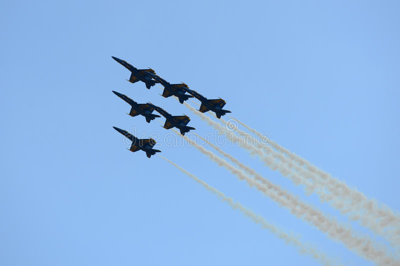 Blue Angels at Great New England Air Show. United States Navy Blue Angels Aerobatic flight demonstration team F/A-18 Hornet perform Delta Formation at Great New stock image