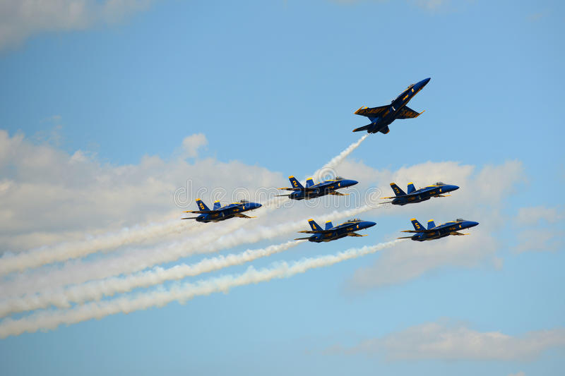 Blue Angels at Great New England Air Show. United States Navy Blue Angels Aerobatic flight demonstration team F/A-18 Hornet perform Delta Formation at Great New stock images