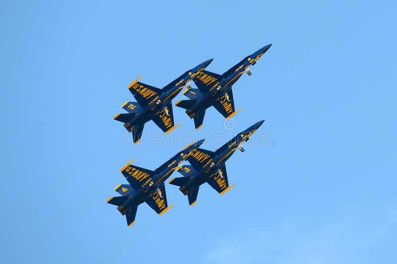 Blue Angels at Great New England Air Show. United States Navy Blue Angels Aerobatic flight demonstration team F/A-18 Hornet perform diamond formation at Great royalty free stock photos