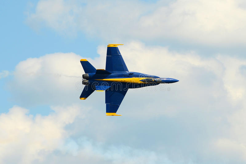 Blue Angels at Great New England Air Show. United States Navy Blue Angels Aerobatic flight demonstration team F/A-18 Hornet at Great New England Air Show in stock image