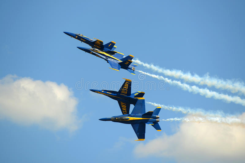 Blue Angels at Great New England Air Show. United States Navy Blue Angels Aerobatic flight demonstration team F/A-18 Hornet at Great New England Air Show in royalty free stock images