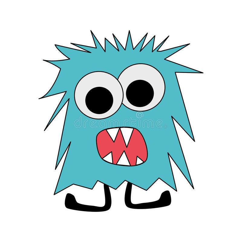 Blue angry hairy monster cartoon vector illustration