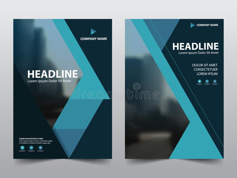 Blue annual report brochure flyer design template vector, Leaflet cover presentation abstract flat background, layout in A4 stock illustration