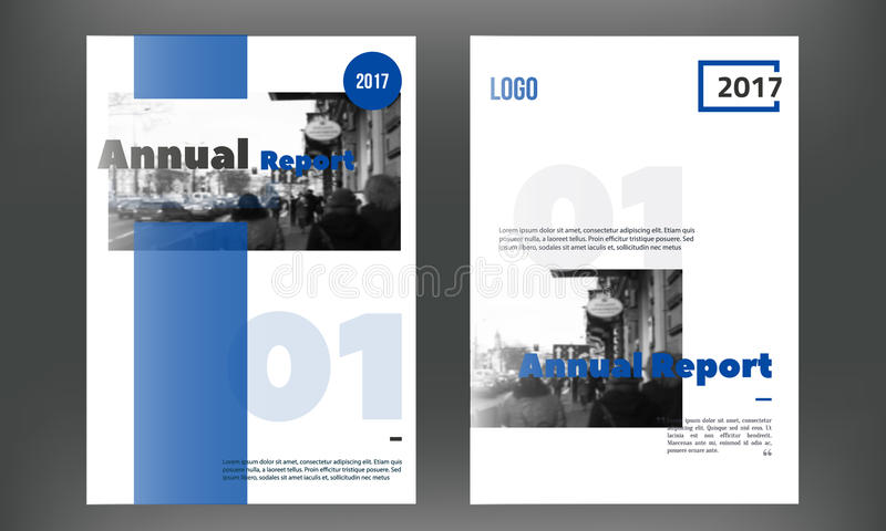 blue annual report design templates vector set leaflet cover for