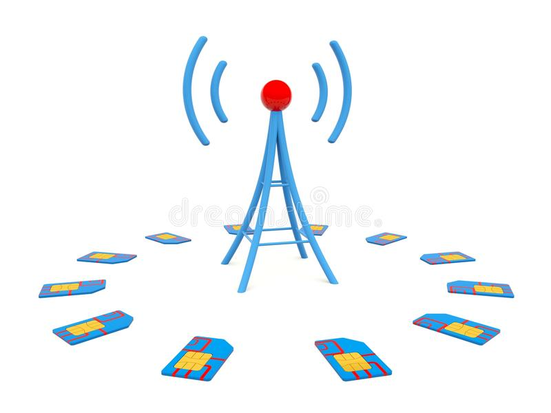 Download Blue Antenna With Sim Cards Stock Illustration - Image: 26245071