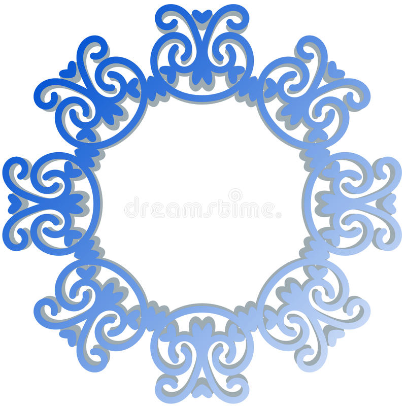 Download Blue Antique Mirror Circular Frame Stock Illustration - Image: 95761154