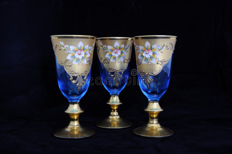 Download Blue Antique Wine Goblets stock image. Image of glass - 5240609