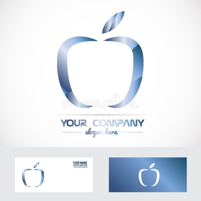 Blue apple 3d metal logo stock illustration