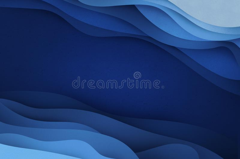 Blue applique flow. Creative abstract banner illustration. Deep blue waves made of cut out paper. Texturized applique for background. Smooth flow stock illustration