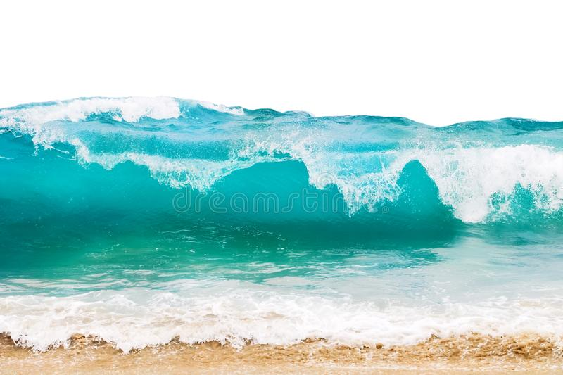 Blue and aquamarine color sea waves and yellow sand with white foam isolated on white background. Marine beach background.  stock photo