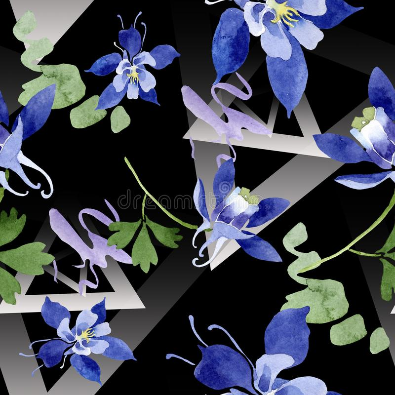 Blue aquilegia floral botanical flowers. Watercolor background illustration set. Seamless background pattern. vector illustration