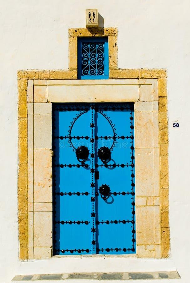 Blue arabian door. Sidi bu Said, Tunisia royalty free stock photography