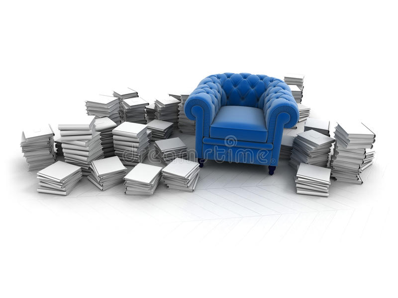 Blue armchair and books. Blue velvet club armchair surrounded by white books vector illustration
