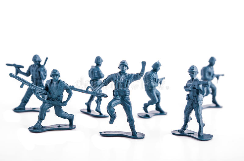 Blue army toy soldiers. Blue Toy army toy soldiers stock photos