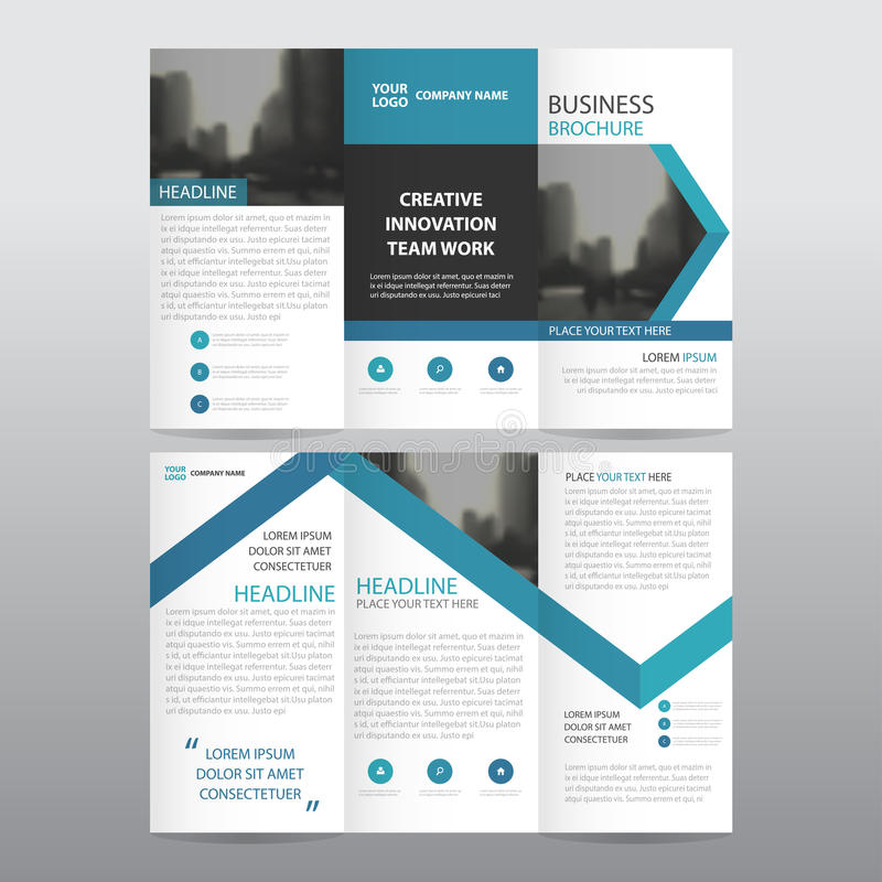 Blue arrow business trifold Leaflet Brochure Flyer report template vector minimal flat design set. Abstract three fold presentation layout templates a4 size vector illustration