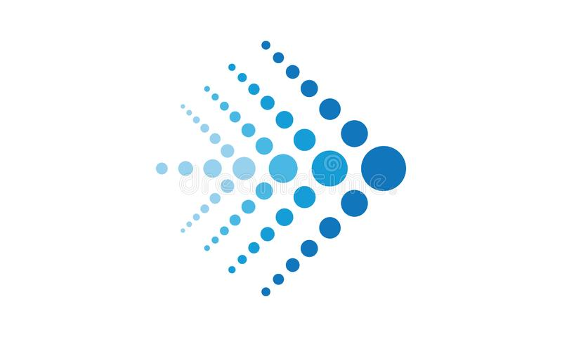 A blue arrow logo comprised of blue dots. This blue arrow logo comprised of blue dots facing right can be used as a logo for business or finance companies vector illustration