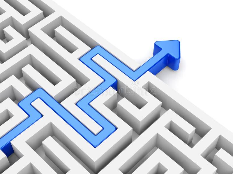 Download Blue Arrow Path Across Labyrinth Stock Illustration - Illustration: 35091263