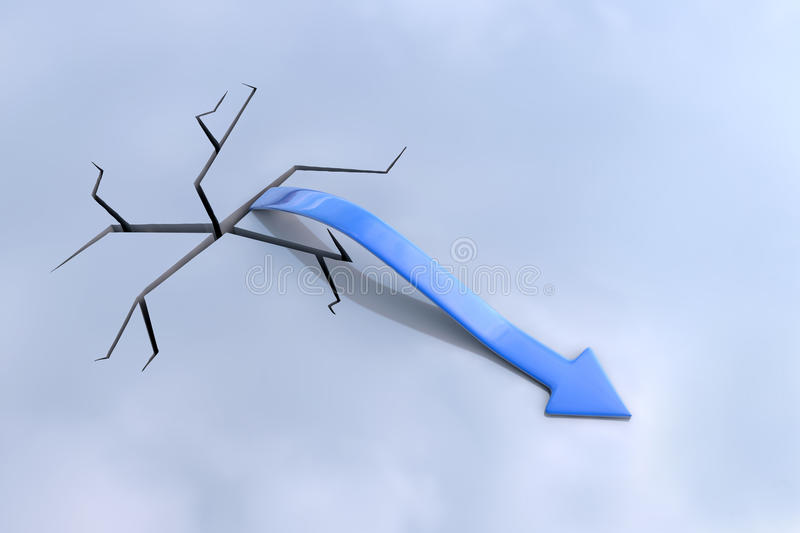 Download Blue Arrow Rising From Crack Stock Illustration - Image: 22265348