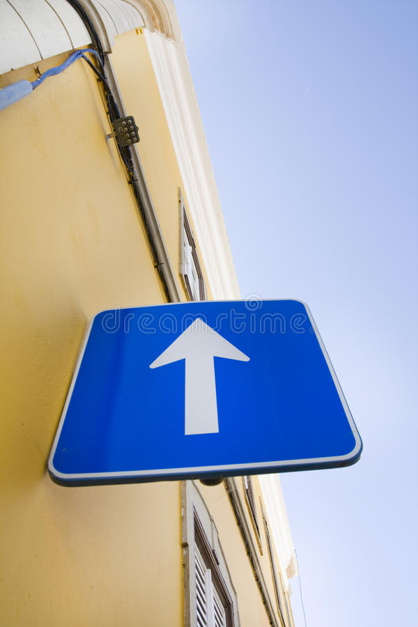 Download Blue Arrow Roadsign Royalty Free Stock Photo - Image: 12386155