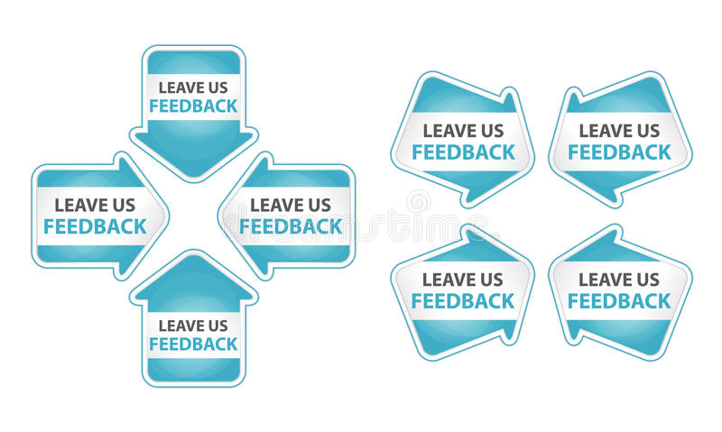 Blue Arrows with Leave Us Feedback Tag
