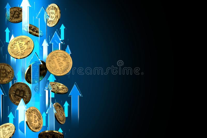 Blue arrows pointing up as Bitcoin BTC price rises. Isolated on black background, copy space. Cryptocurrency prices grow concept. 3D render royalty free illustration
