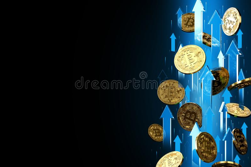 Blue arrows pointing up as Bitcoin BTC price rises. Isolated on black background, copy space. Cryptocurrency prices grow concept stock illustration
