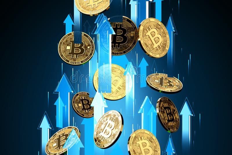 Blue arrows shots up with high velocity as Bitcoin BTC price rises. Cryptocurrency prices grow, high risk - high profits concept. 3D render royalty free illustration