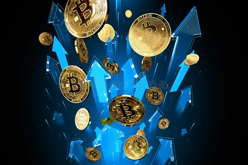 Blue arrows shots up with high velocity as Bitcoin BTC price rises. Cryptocurrency prices grow, high risk - high profits concept. 3D render vector illustration