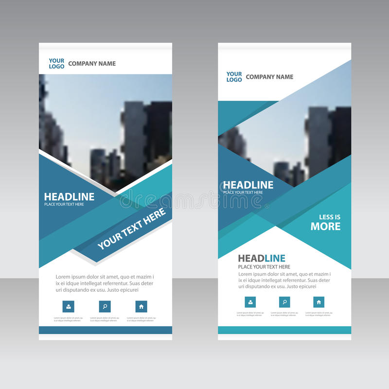 Blue astract triangle Business Roll Up Banner flat design template ,Abstract Geometric banner template Vector illustration set. Abstract presentation template royalty free illustration