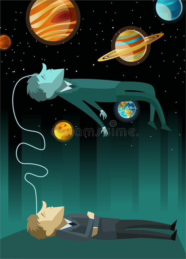 Free Blue Astral Projection Soul Seeing Himself As A Slept Body Stock Image - 189084921
