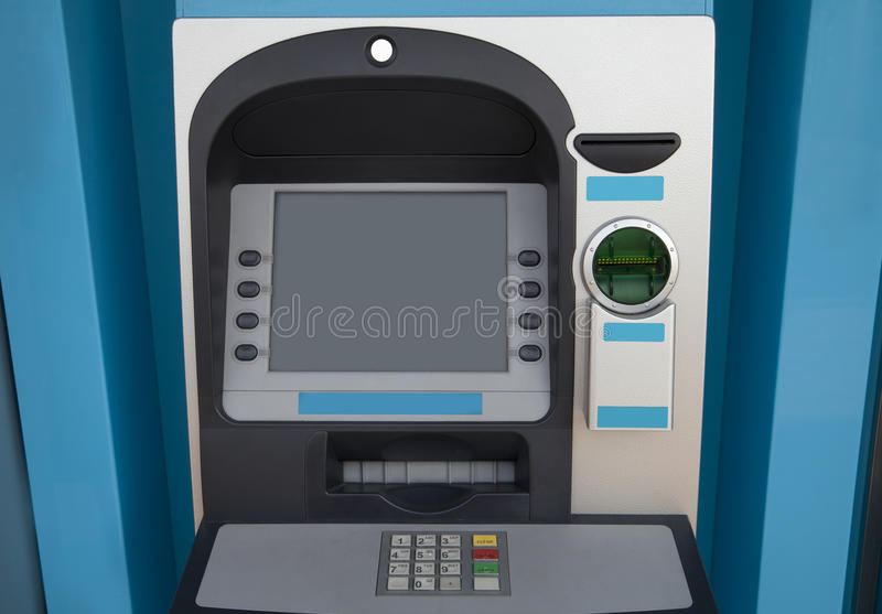Blue ATM. Machine - front view royalty free stock image