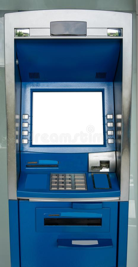 Blue ATM machine. The station automatic machines royalty free stock photos