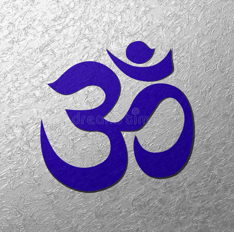 Blue Aum symbol silver background royalty free illustration