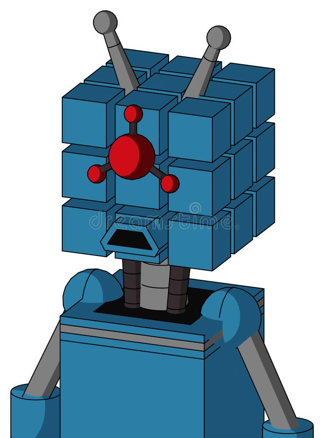 Blue Automaton With Cube Head And Sad Mouth And Cyclops Compound Eyes And Double Antenna. Portrait style Blue Automaton With Cube Head And Sad Mouth And Cyclops vector illustration