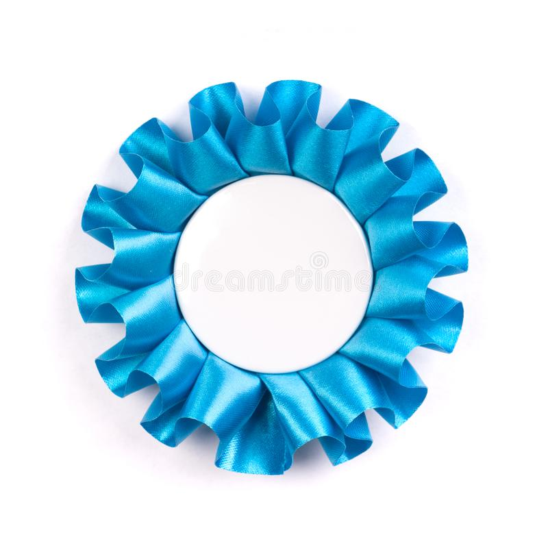 Blue award cockade with blank empty space inside stock photography