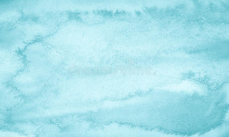 Blue azure Watercolor background with bizarre natural divorces and stripes. Abstract  frame with copy space. For text stock photos