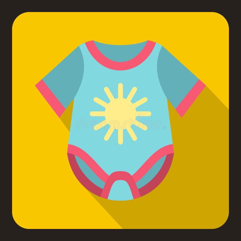 Blue baby bodysuit icon, flat style stock illustration