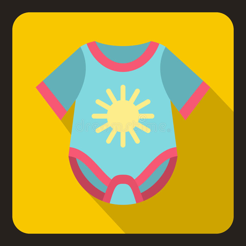 Blue baby bodysuit icon, flat style vector illustration