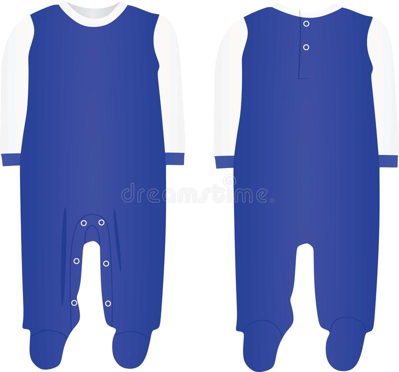 Blue baby boy bodysuit. Front and back view, vector royalty free illustration