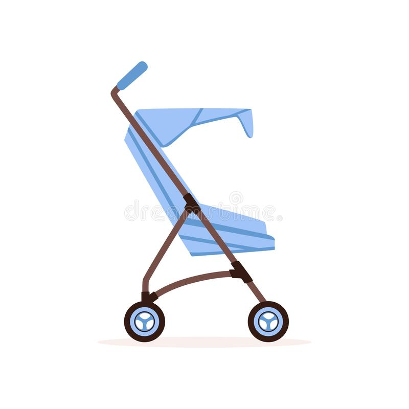 Blue baby carriage, safe handle transportation of toddler vector Illustration. On a white backgroun stock illustration