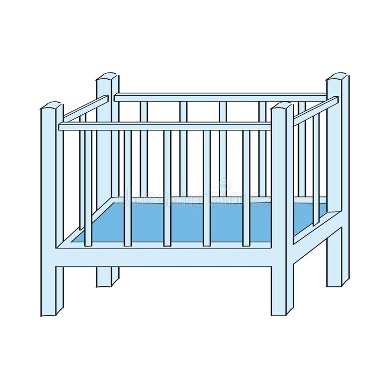 Blue baby cot for boy - original hand drawn illustration. Blue baby cot for baby boy - original hand drawn illustration vector illustration