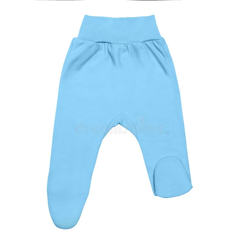 Blue baby footed pants. child footie trousers isolated on white background stock photos